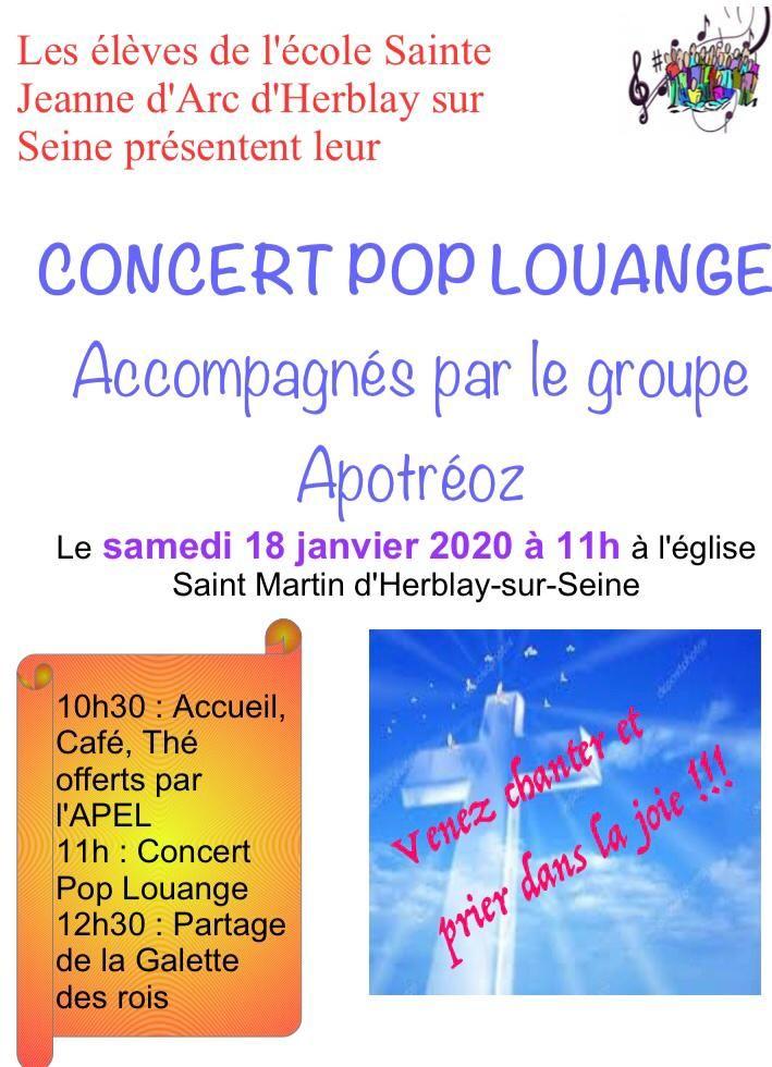 Concert Pop Louange samedi 18 janvier à 11h à l'Eglise Saint-Martin