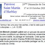 Feuille de Messe – « 29ème Dimanche du Temps Ordinaire 17 et 18 Octobre 2020 – Année A»