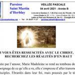 Feuille de Messe – Veillée Pascale – 04/04/2021 – 6h30