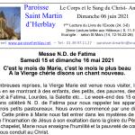 Feuille de messe – Le Corps et le Sang du Christ- Année B – Dimanche 06 juin 2021