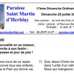 Feuille de messe – 17ème dimanche ordinaire – Année B – Dimanche 25 juillet