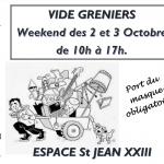 Vide greniers les 2 et 3 octobre – 10h 17h – ESJ XXIII