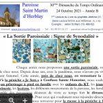 Feuille de Messe – 30ème Dimanche du Temps Ordinaire – 24 Octobre 2017 – Année B