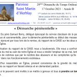Feuille de messe – 29ème Dimanche du Temps Ordinaire – 17 Octobre 2021 – Année B